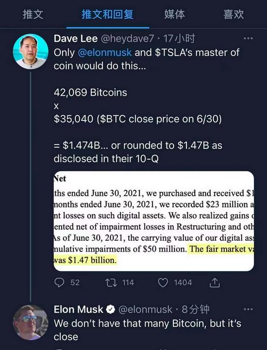 马斯克特斯拉有接近价值14.7亿美元的比特币